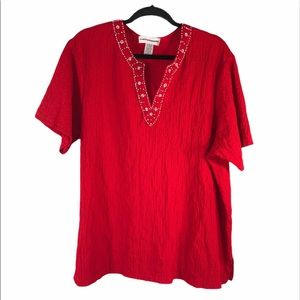 Red Beaded Top by Cathy Daniels, Size 2X